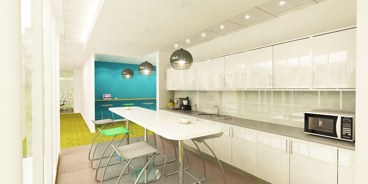 office breakout area design - kitchen